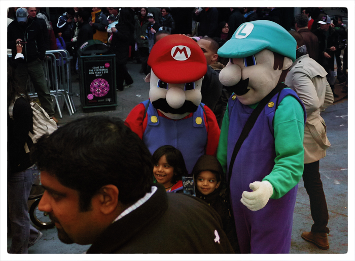 Mario Brothers and fans in Times Square